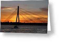 Daugava Sunset. Riga. Latvia Greeting Card