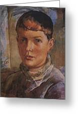 Daughter Of The Artist 1933 Kuzma Sergeevich Petrov-vodkin Greeting Card