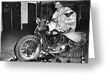 Dave On A Harley Tulare Raiders Mc Hollister Calif. July 4 1947 Greeting Card
