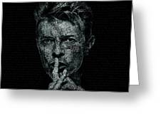 David Bowie Text Portrait - Typographic Poster With Album Titles And Background With Songs Names Greeting Card