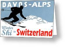 Davos, Alps, Mountains, Switzerland, Winter, Ski, Sport Greeting Card