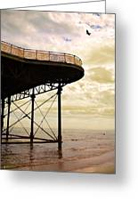Dawn At Colwyn Bay Victoria Pier Conwy North Wales Uk  Greeting Card