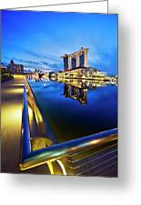 Dawn At Marina Bay Promenade Singapore Greeting Card