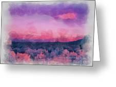 Dawn In Taos In Aquarelle Greeting Card