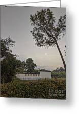 Dawn Moon Over Chinese Garden Singapore Greeting Card