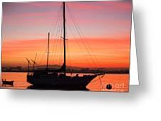 Dawn Of The Sailboat Greeting Card