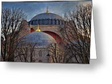 Dawn Over Hagia Sophia Greeting Card by Joan Carroll