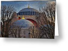 Dawn Over Hagia Sophia Greeting Card by Joan Carroll