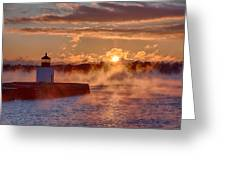 Dawn Peeking Over At Derby Lighthouse Greeting Card