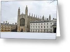 Dawn Sunshine Hit Kings College Chapel On Christmas Eve. Greeting Card