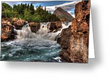 Dawn Upon Swiftcurrent Falls  Greeting Card