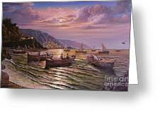 Day Ends On The Amalfi Coast Greeting Card by Rosario Piazza