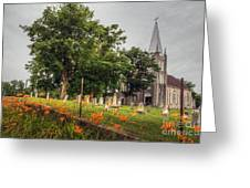 Day Lilies By A Church  Greeting Card