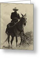 Days Of Old Miss Aleto And The Cowboy Greeting Card
