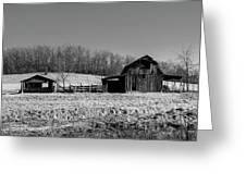 Days Gone By - Arkansas Barn In Black And White Greeting Card