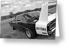 Daytona Charger In Black And White Greeting Card