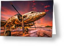 Dc-3 In Surreal Evening Light Greeting Card