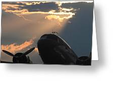 Dc-3 On Sunrise 1 Greeting Card