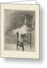 Dead Flamingo With The Legs Tied To The Handrail Of A Chair, Adriaan Pit, 1870 - 1896 Greeting Card