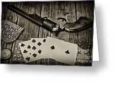 Dead Mans Hand Black And White Greeting Card