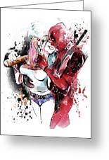 Deadpool harley quinn kiss painting by unique drawing - Deadpool harley quinn notebook ...