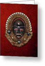 Dean Gle Mask By Dan People Of The Ivory Coast And Liberia On Red Velvet Greeting Card by Serge Averbukh