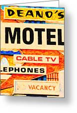 Deanos Motel Greeting Card by Wingsdomain Art and Photography