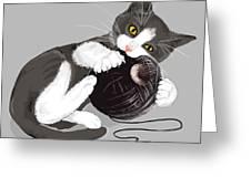 Death Star Kitty Greeting Card by Olga Shvartsur