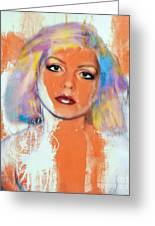 Debbie Harry - Orange Funky Grunge Greeting Card