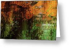 Decadent Urban Brick Green Orange Grunge Abstract Greeting Card