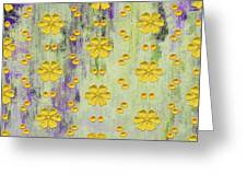 Decadent Urban Bright Yellow Patterned Purple Abstract Design Greeting Card