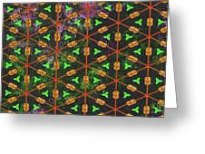 Decadent Urban Orange Green Patterned Abstract Design Greeting Card