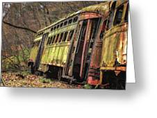 Decaying Trolley Cars Greeting Card