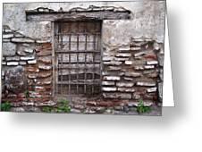 Decaying Wall And Window Antigua Guatemala 2 Greeting Card