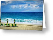 Deck Chairs And Distant Rainbow Greeting Card