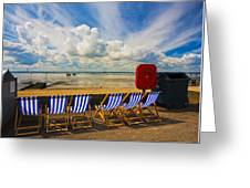 Deck Chairs At Southend On Sea Greeting Card