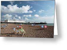 Deckchairs On Brighton Beach Greeting Card