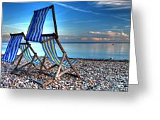 Deckchairs On The Shingle Greeting Card