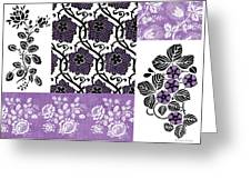 Deco Flower Patchwork 3 Greeting Card