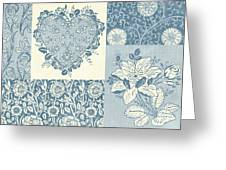 Deco Heart Blue Greeting Card