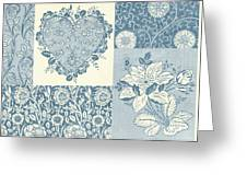 Deco Heart Blue Greeting Card by JQ Licensing