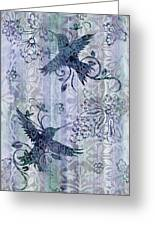 Deco Hummingbird Blue Greeting Card