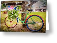 Decorated Bicycle In The Park Greeting Card