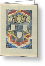 Decorative Design With The National Coat Of Arms, Flags And Banners, Carel Adolph Lion Cachet, 1874  Greeting Card