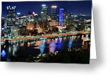 Deep Blue Night In Pittsburgh Greeting Card