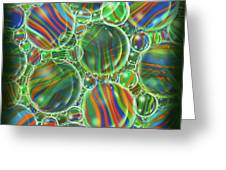 Deep Green Marbles Shower Curtain Greeting Card