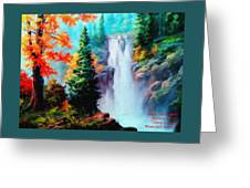 Deep Jungle Waterfall Scene. L A  Greeting Card