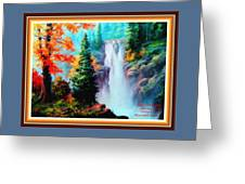 Deep Jungle Waterfall Scene L A With Alt. Decorative Ornate Printed Frame. Greeting Card
