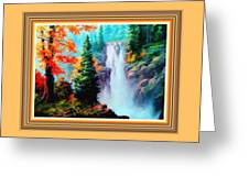 Deep Jungle Waterfall Scene L B With Alt. Decorative Ornate Printed Frame. Greeting Card