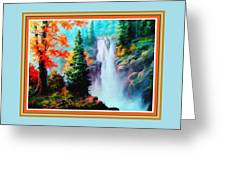 Deep Jungle Waterfall Scene L B With Decorative  Ornate Printed Frame. Greeting Card